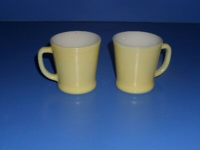 2 Fire King Yellow Coffee Mugs Cup Vintage D Handle Oven Ware