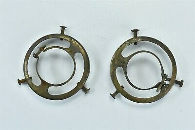 Antique LOT of 2 1896 BRASS SOCKET SHADE HOLDER FITTER & BRASS PLATED OLD #07035