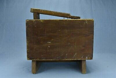 Antique PRIMITIVE WOOD SHOE SHINE POLISH STAND STOOL with FOOT REST OLD #06970