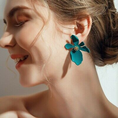 2019 New Fashion Boho Painting Big Flowers Ear Stud Earrings Women Charm Jewelry