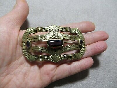Antique Victorian Brass Metal Amethyst Stones Leafs Buckle Form Large Brooch