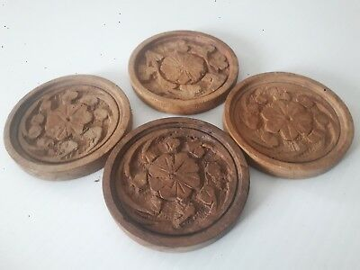 ANTIQUE Folk Art Primative Hand Carved Wood Butter Press Mold LOT Of 4 PCS