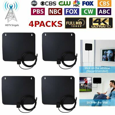 4X Indoor Amplified HDTV Antenna 50 Mile Detachable Amplifier Signal Booster BT