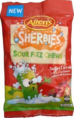 1.8kg ALLENS SHERBIES SOUR FIZZ CHEWS FRUIT BULK LOLLIES CANDY HANG SELL BOX