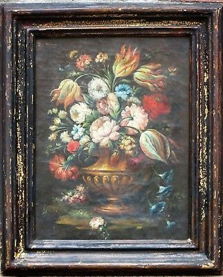 Pair Antique Oil Canvas Floral Still Life Paintings