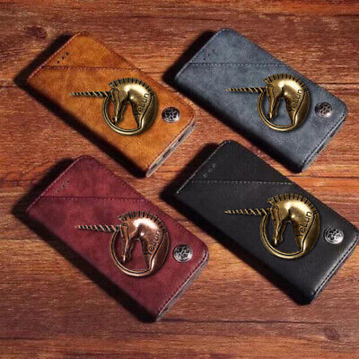 3D Metal Horse Retro Wallet Flip PU Leather Phone Case Cover For Doogee Y7 Plus