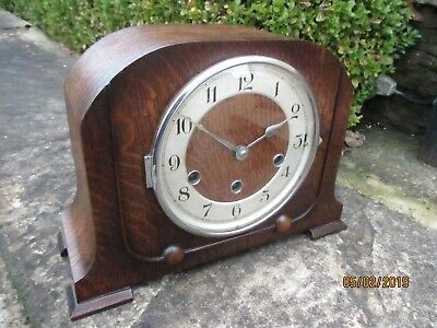 """  Haller ""  Oak cased Westminster 8 Day Chiming Clock."
