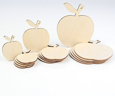 Wooden Apple Shape Craft Hanging Tag Decoration Gift Love Card Making Home Decor