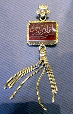 vintage gold plated sterling silver Islamic carnelian pendant, calligraphy