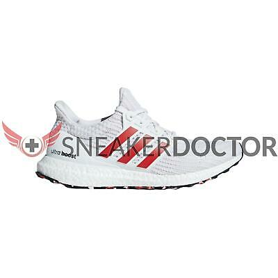 da691564e3ba adidas Mens Ultraboost Running Shoes White Active Red Chalk White All Sizes