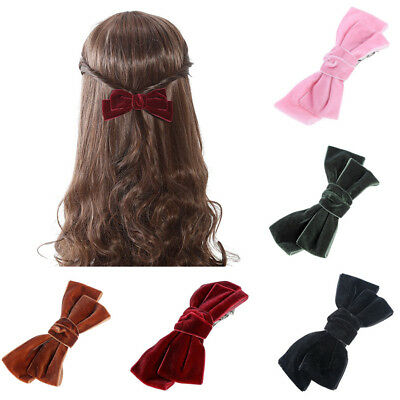 Women's Bow Knot Velvet Hair Slide Clips Grips Barrettes Hair Pins Accessories