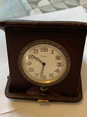 Art Deco Folding 8 Day Enamel Dial Travel Clock 1930's Leather Case Greek Key