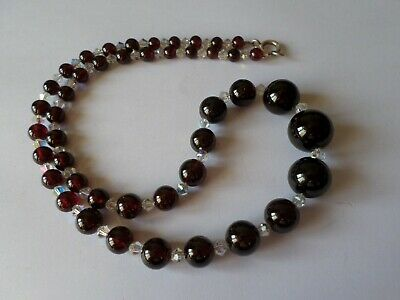 "Vintage glass bead necklace with sterling silver clasp - 18"" or 46 cm"
