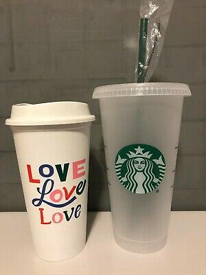 STARBUCKS Reusable Plastic Love Cup Grande 16 oz and Venti 24 oz Cup with Straw
