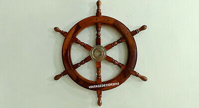 Nautical  24'' Wooden Ship Wheel Boat Maritime Steering Handcrafted Wall Decor