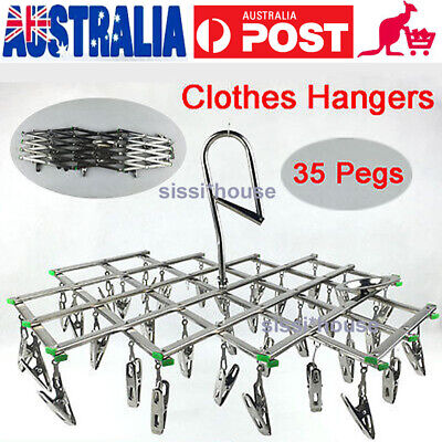 35 Pegs Swivel Hook Underwear Socks Gloves Drying Rack Clothes Hanging Hanger Y