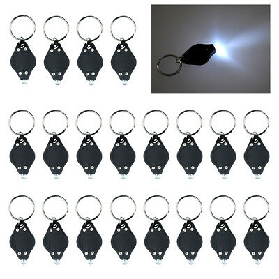 10/20PC LED Mini Micro Keychain Key Ring Flash Bright Flashlight Torch White LOT