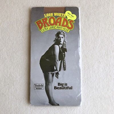 Vintage 60s LEON WORTH 'Broads' SHEER Nylon PANTYHOSE XL Plus Size ~QUIRKY Model