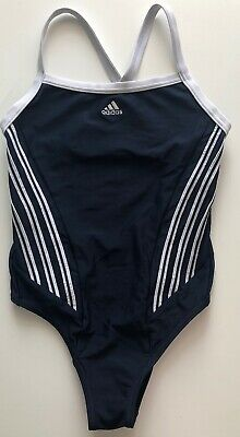 Adidas Girls Swimsuit Size 28-30 VGC Navy Blue 3 Stripes