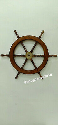Nautical 12''  Wooden Ship Wheel Boat Maritime Steering Handcrafted Wall Decor