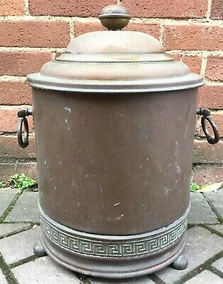 Large Antique Arts & Crafts Egyptian Revival Copper Coal Scuttle / Bucket Lidded