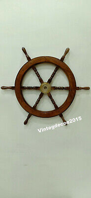 Nautical  Wooden Ship Wheel Boat Maritime Steering Handcrafted Wall Decor