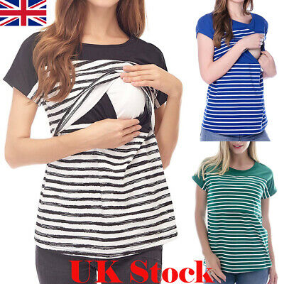 Pregnant Women Maternity Stripe Nursing Clothes Breastfeeding Top T-Shirt Blouse
