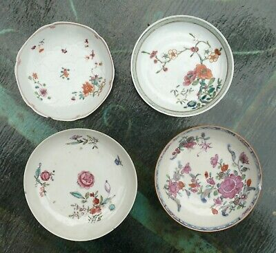Four Chinese Porcelain Famille Rose Dishes, Qing Dynasty, 18th Century