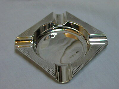 Vintage Art Deco Sterling Silver Ashtray for Cigar Smoking 61.16g Hallmark 1937