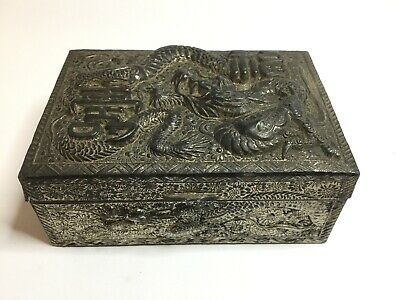 Antique Japanese Repousse Relief Pewter Metal Trinket Jewellery Box Dragons 1920