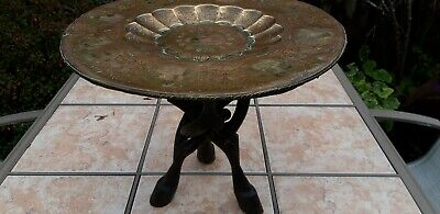 Antique Brass Tray table unusual carved  wooden tripod legs. Very pretty
