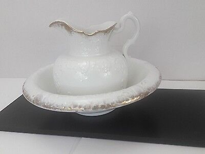 Antique Trilby Wash Basin & Pitcher, White w/ Gold Accent, Holds 1-1/2 gallon