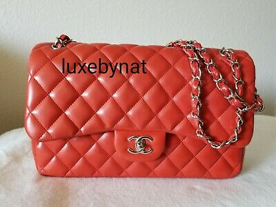 550ddd24a334 Auth Chanel jumbo double flap red lamb skin silver hardware shoulder bag