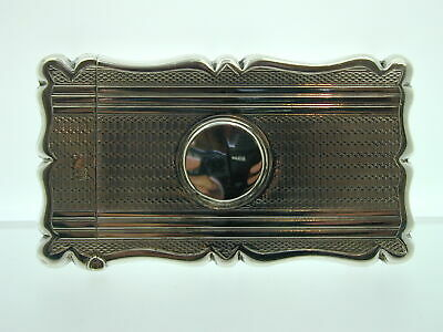 Antique Silver Card Case Blank Cartouche 1905 Engine Turned Scroll Edge 44.5g