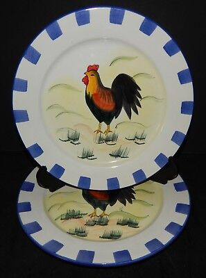 2 Painted Rooster Blue Checkered Dinner Plates Chicken Ceramic Stoneware