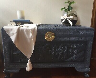 Camphor Wood Carved Chest Painted In Charcoal With Light Grey Highlights