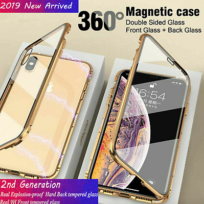 For iPhone XR Xs Max 8 7 Plus Magnetic Absorption Front+Back Tempered Glass Case