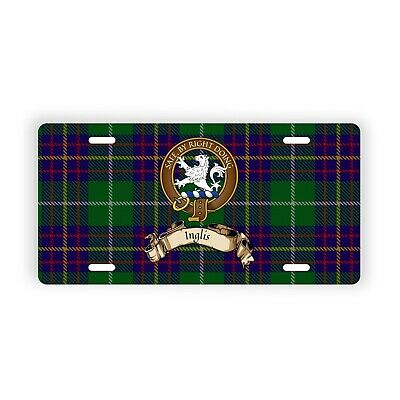 Inglis Scottish Clan Tartan Novelty Auto Plate with Crest and English Motto