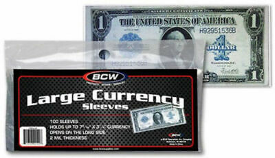 100 BCW Large Currency Sleeves 2 MIL THICK Fits Up To 7-7/16 X 3-1/4 Notes Bills