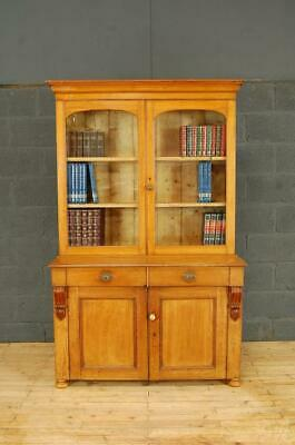 Antique Victorian 19th Century Oak Library Glazed Bookcase