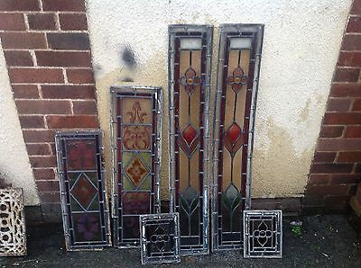 Stunning Victorian Stained Hand Painted Leaded Glass Panels Bullseye Vestibule