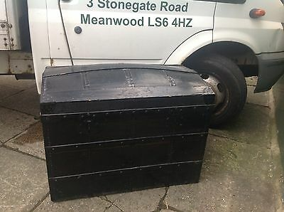 Victorian Painted Metal And Wood Domed Top Trunk Antique Travel Chest Treasure