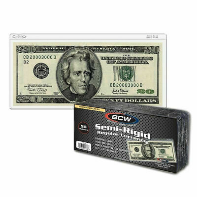 50 BCW Semi-Rigid Currency Holder Regular Bill 9 MIL THICK Fits Up To 6⅛ x 2⅝