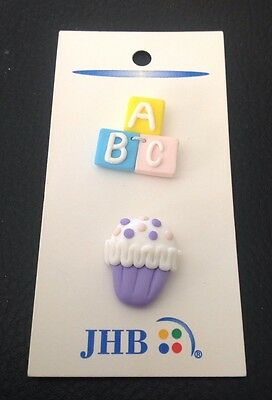 """2 Vintage JHB 3/4"""" Realistic Novelty Plastic """"ABC"""" Blocks And Cupcake Buttons"""