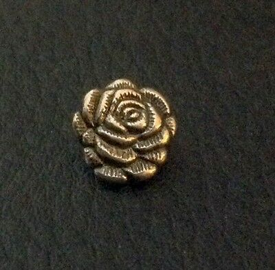 "Vintage 7/16"" Realistic Novelty Figural Metal Flower Button"