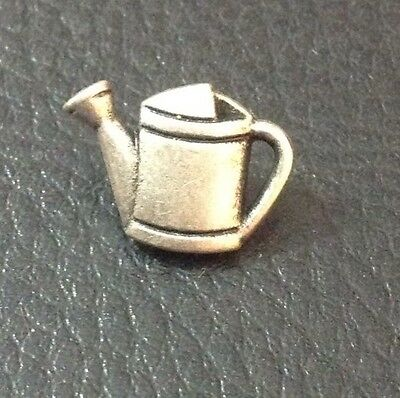 """Vintage 5/8"""" Realistic Novelty Figural Silver Tone Metal Watering Can Button"""