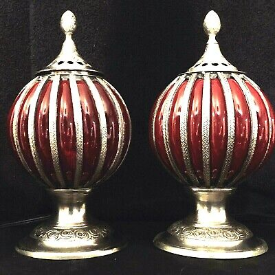 Pair Art Deco Table Boudoir Vanity Lamps with Red Pressed & Molded Glass Globes