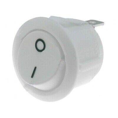 2 Interruttore Bianco Accensione On Off Switch Auto Cruscotto Tondo 10A 20.2Mm