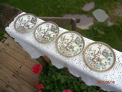 """Set of 4 Mintons Indian Tree Butter Pat 3"""" Minton Pink Green Small Lot Bowl"""