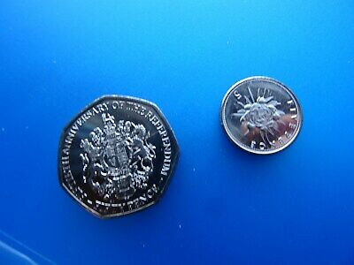 50p coin of GIBRALTAR 2017 The REFERENDUMFifty Pence + 5 pence coins of Europe